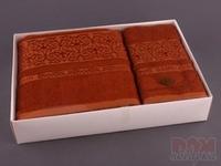 Комплект махровых полотенец из 2 шт. коричневый