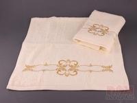 Комплект полотенец из 2шт 50*100 см  Золотой орнамент  , шампань