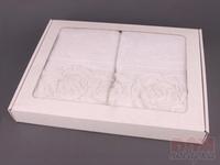 Комплект полотенец из 2шт 50*100 см  Розы  белый