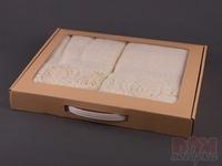 Комплект полотенец из 2шт 50*100 см  Пион  кремовый