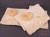 Комплект полотенец из 2 шт 50*100 см  Розалина  кремовый