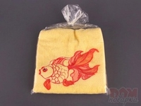 Полотенце 370г/м2 вышивка рыбка, желтое, 76x34 см.