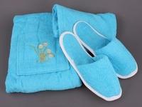 Комплект для сауны 3 пр.:чалма,полотенце и тапочки махровый женский голубой