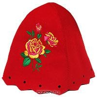 """Шапка для бани и сауны """"Роза"""", цвет: красный"""
