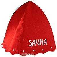 """Шапка для бани и сауны """"Сауна"""", цвет: красный"""