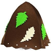 """Шапка для бани и сауны """"Банный лист"""", цвет: коричневый"""