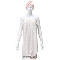 """Комплект женский для бани и сауны """"Eva"""", цвет: бело-розовый"""