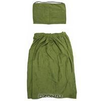 """Комплект для бани и сауны """"Ева"""" мужской, цвет: зеленый"""