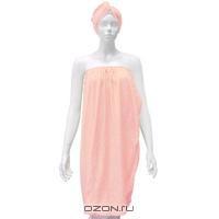 """Комплект женский для бани и сауны """"Eva"""",цвет: розовый. Б261"""