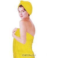 """Комплект женский для бани и сауны """"Eva"""", цвет: желтый. Б261"""