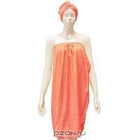 """Комплект женский для бани и сауны """"Eva"""",цвет: коралловый. Размер L - XXL"""