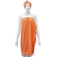 """Комплект для бани и сауны """"Ева"""", женский, цвет: оранжевый"""