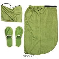 """Комплект мужскойдля бани и сауны """"Люкс"""", цвет: зеленый"""