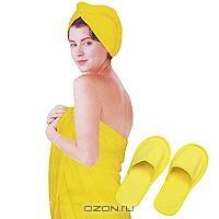 """Комплект женский для бани и сауны """"Eva"""", цвет: желтый"""