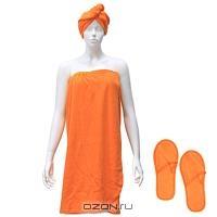 """Комплект женский для бани и сауны """"Eva"""", цвет: оранжевый"""