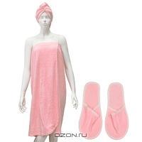 """Комплект женский для бани и сауны """"Люкс"""", цвет: розовый"""