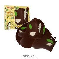 """Набор для бани и сауны """"Банный лист"""", цвет: коричневый. Б4623"""