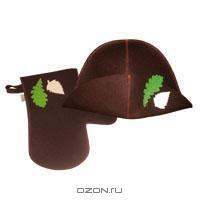 """Набор для бани и сауны """"Банный лист"""", цвет: коричневый"""