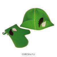 """Набор для бани и сауны """"Банный лист"""", цвет: зеленый"""