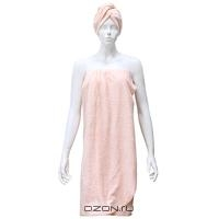 """Комплект женский для бани и сауны """"Eva"""",цвет: розовый"""