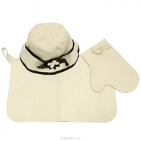 """Набор для бани и сауны """"Банные штучки"""": шапка, рукавица, коврик"""