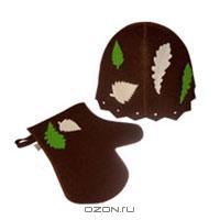 """Набор для бани и сауны """"Банный лист"""", цвет: коричневый. Б4621"""