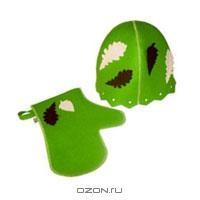 """Набор для бани и сауны """"Банный лист"""", цвет: зеленый.Б4721"""