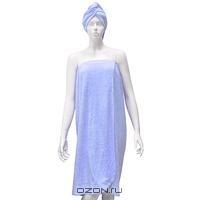 """Комплект женский для бани и сауны """"Eva"""", цвет: голубой"""