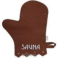 """Рукавица для бани и сауны """"Сауна"""", цвет: коричневый"""