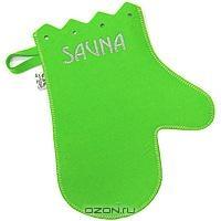 """Рукавица для бани и сауны """"Сауна"""", цвет: зеленый"""