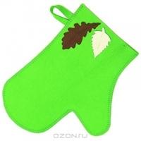 """Рукавица для бани и сауны """"Банный лист"""", цвет: зеленый"""