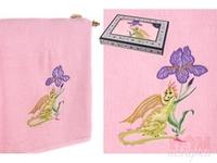 Полотенце  Дракон с ирисом , розовый, 140x70 см.