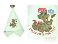 Полотенце , 370г/м2, вышивка дракон  Радости и счастья , салатовое, 76x34 см.