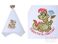 Полотенце 370г/м2, вышивка дракон  Радости и счастья , голубое, 76x34 см.