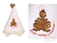 Полотенце 370г/м2, вышивка дракон  Желаю счастья и богатства! , кремовое, 76x34 см.