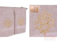 Комплект полотенец 2-шт . Золотой вензель  , св-серый, 100x50 см.