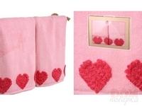 Комплект полотенец 2-шт  Сердца ,розовый, 100x50 см.