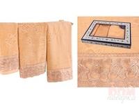Комплект из 3-х полотенец  Ажур , золотой