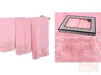 Комплект из 3-х полотенец  Ажур , розовый
