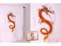 Полотенце  Огненный дракон , белый, 140x70 см.